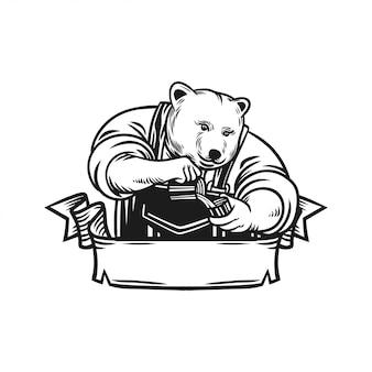 Emblema del logotipo del oso barista