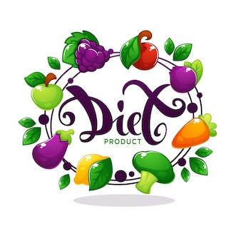 Emblema de marco adhesivo brillante y banner con composición de letras de dieta verduras de baya de frutas de dibujos animados