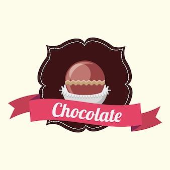 Emblema con marco decorativo y cinta con trufa de chocolate sobre fondo blanco