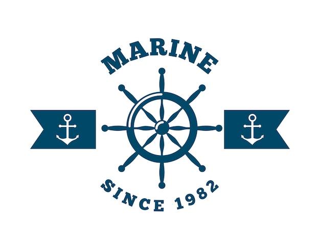 Emblema marino con el timón y el icono de anclajes