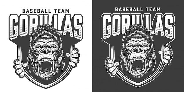 Emblema de la mascota del gorila enojado del equipo de béisbol
