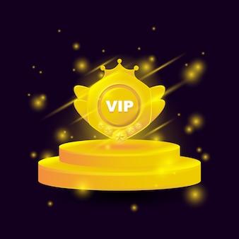Emblema de medallas de oro vip premium con podio y luz brillante