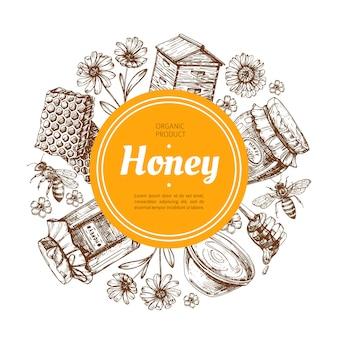 Emblema de miel de granja natural con abeja y panal. ilustración de vector dibujado a mano vintage
