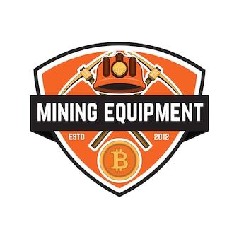 Emblema de minería de criptomonedas aislado sobre fondo blanco.