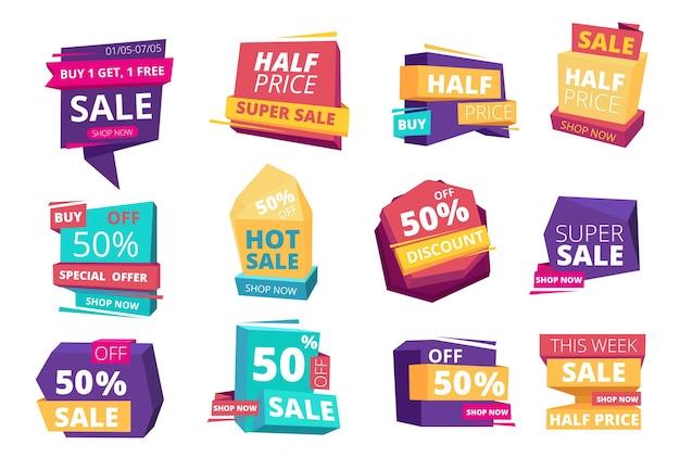 Emblema a mitad de precio. mega venta de insignias publicitarias promocionales ofertas especiales conjunto de etiquetas de eventos.