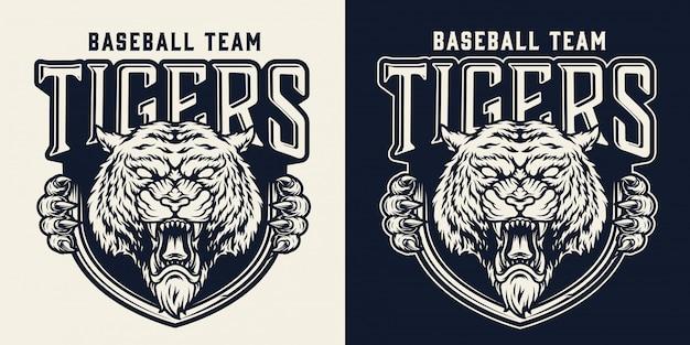 Emblema monocromo vintage equipo de béisbol