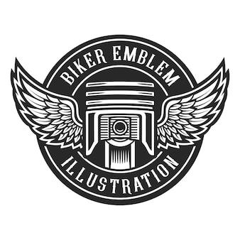 Emblema de motos vintage, pistón con alas.