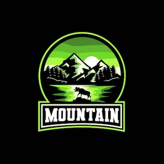 Emblema de mountain lake tree y moose