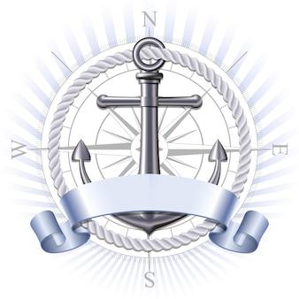 Emblema náutico con ancla de metal, rosa de los vientos y cinta. banner de viajes de verano marino. ilustración vectorial
