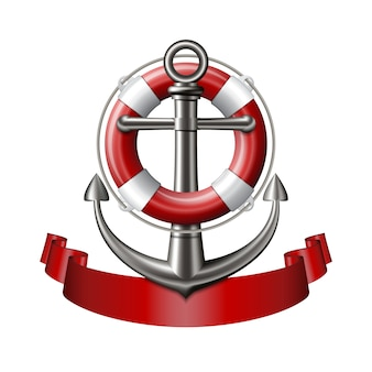 Emblema náutico con ancla, salvavidas y cinta roja.