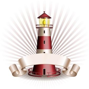Emblema náutico con faro rojo