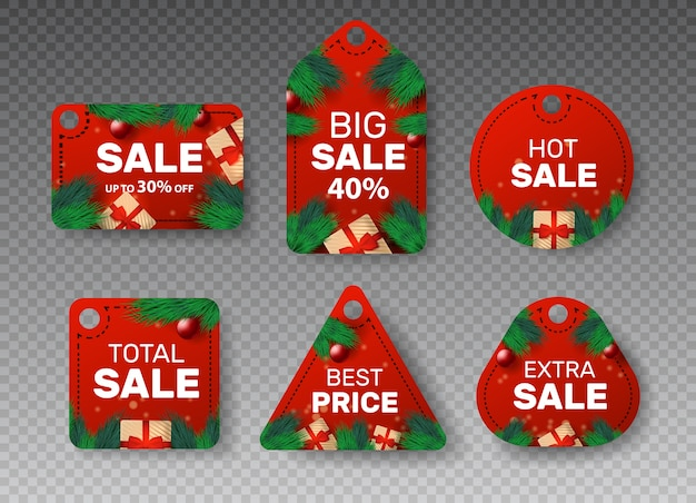 Emblema de navidad con pegatinas de precios. cupones