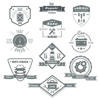 Emblema negro de reparación de automóviles