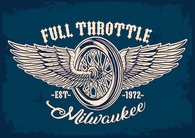 Emblema de neumáticos y alas de moto.