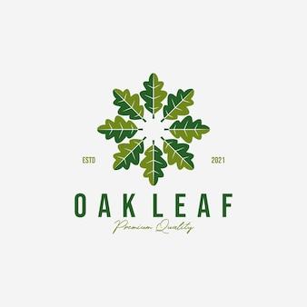 Emblema o círculo de vector de logotipo de hoja de roble, diseño de hojas para negocios, meditación por roble de ilustración vintage, logotipo saludable, spa de acupuntura