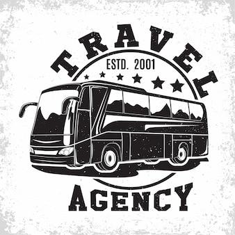 Emblema de la organización de alquiler de autobuses turísticos o excursiones