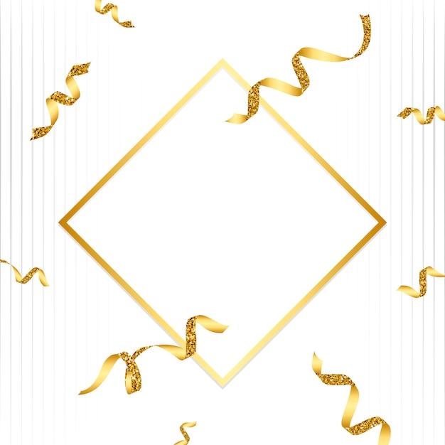 Emblema de oro en blanco con el vector de confeti