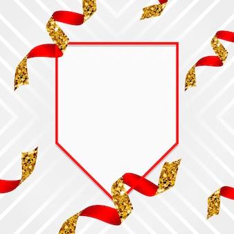 Emblema de oro y rojo en blanco con vector de confeti