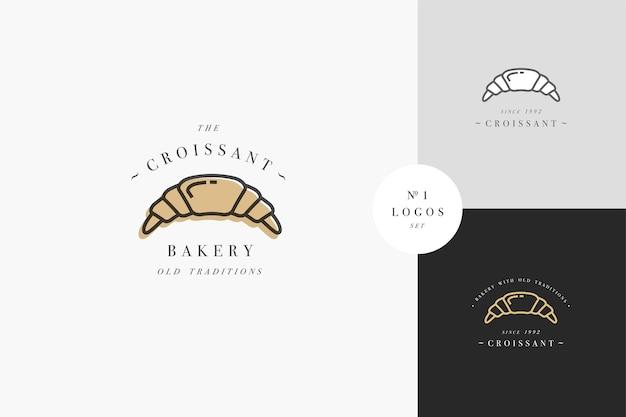 Emblema de panadería croissant o logotipo con tipografía. panadería o pastelería. logotipo en estilo lineal de moda