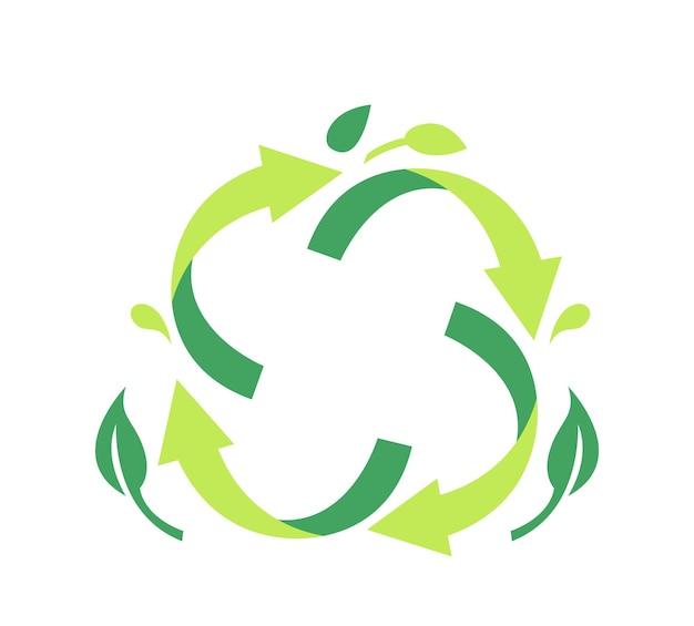Emblema para paquete reciclable. reciclar el símbolo de las flechas giratorias circulares verdes con las hojas de los árboles símbolo del proceso de transformación de la basura para el cartel o la pancarta ecológica, reutilizar la basura. ilustración vectorial