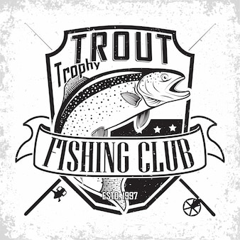 Emblema de los pescadores de truchas, sellos de impresión de grange, emblema de tipografía de pescadores