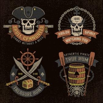Emblema pirata con calaveras