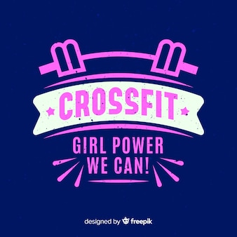 Emblema plano motivacional de crossfit.