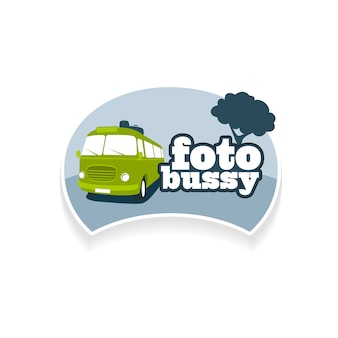 Emblema plantilla foto bus turismo. identidad de marca corporativa, icono de logotipo aislado sobre fondo blanco.
