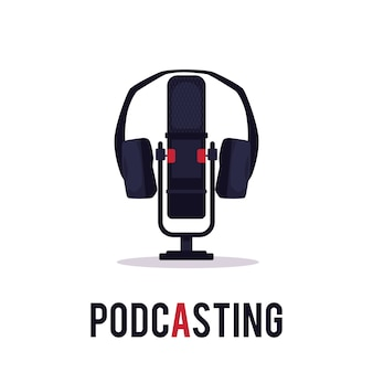 Emblema de podcasting online - micrófono de estudio