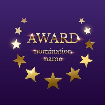 Emblema de premio dorado brillante con estrellas sobre fondo púrpura