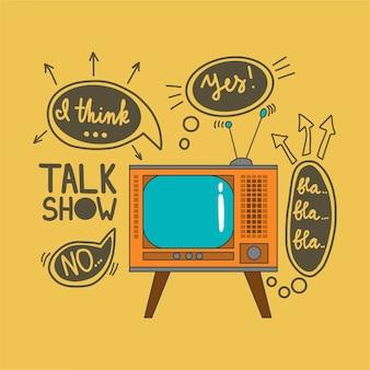 Emblema para programas de entrevistas en el estilo de dibujo