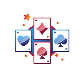 Emblema promocional de los servicios en línea del casino con tarjetas de juego