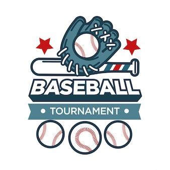Emblema promocional del torneo de béisbol con guantes y pelotas deportivas