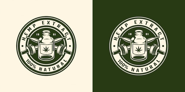 Emblema redondo vintage monocromo de cannabis