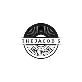 Emblema retro vintage, sello, etiqueta, pegatina y insignia, logotipo de disco de vinilo