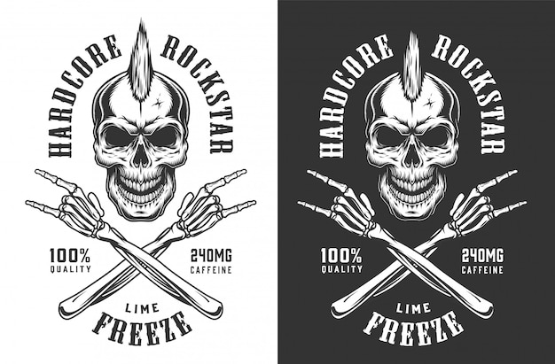 Emblema de rock and roll monocromo vintage