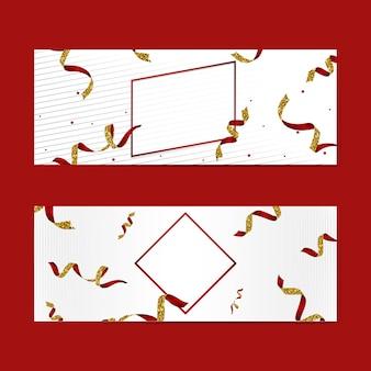 Emblema rojo en blanco con el conjunto de vectores de confeti