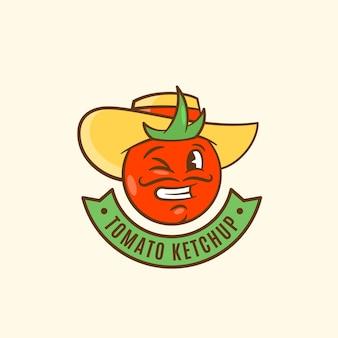 Emblema de salsa de tomate con banner.