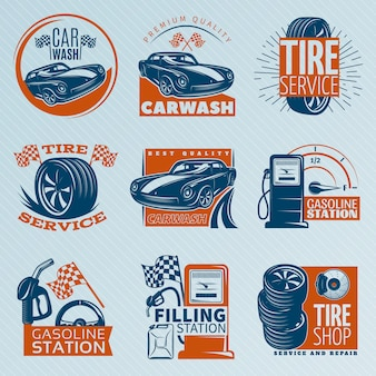 Emblema de servicio de neumáticos en color con descripciones de ilustración de vector de estación de gasolina de servicio de neumáticos de lavado de autos