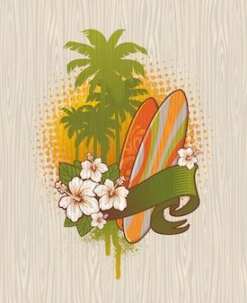 Emblema de surf tropical sobre una superficie de madera