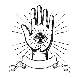 Emblema de tatuaje monocromo vintage