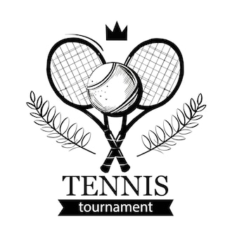 Emblema de tenis. raqueta de tenis. pelota de tenis. club de tenis, escuela de tenis, torneo. diseño de logo.