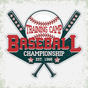 Emblema de tipografía de béisbol, logo deportivo