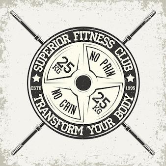 Emblema de tipografía de fitness, logotipo de deportes de gimnasio