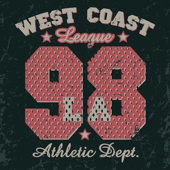 Emblema de tipografía de ropa deportiva de california