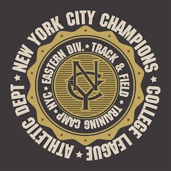 Emblema de tipografía de ropa deportiva de la ciudad de nueva york, gráficos de sello de camiseta, estampado de camiseta, ropa deportiva.