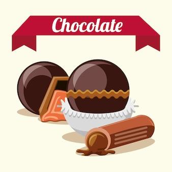 Emblema con trufas de chocolate y dulces sobre fondo blanco