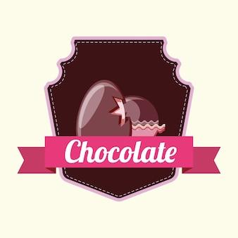 Emblema con trufas de chocolate y huevo de chocolate sobre fondo blanco