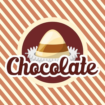 Emblema con trufas de chocolate sobre fondo blanco y marrón a rayas