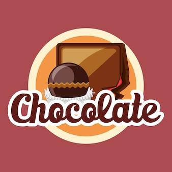 Emblema con trufas de chocolate sobre fondo rojo